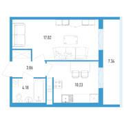ЖК «Аэросити 2», планировка 1-комнатной квартиры, 37.49 м²
