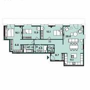 МФК «Soho+Noho», планировка 4-комнатной квартиры, 116.40 м²