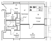 ЖК «AFI Tower», планировка 2-комнатной квартиры, 46.20 м²