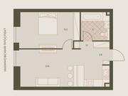 ЖК «Eniteo», планировка 2-комнатной квартиры, 45.80 м²