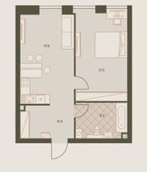 ЖК «Eniteo», планировка 2-комнатной квартиры, 47.70 м²