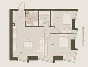 ЖК «Eniteo», планировка 3-комнатной квартиры, 64.80 м²