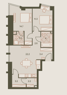 ЖК «Eniteo», планировка 3-комнатной квартиры, 67.00 м²