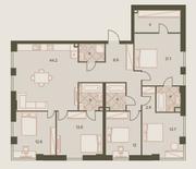 ЖК «Eniteo», планировка 4-комнатной квартиры, 147.50 м²