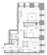 МФК «B'aires», планировка 3-комнатной квартиры, 50.08 м²