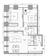 МФК «B'aires», планировка 3-комнатной квартиры, 61.00 м²