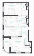 МФК «Monodom Lake», планировка 4-комнатной квартиры, 97.40 м²