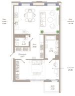 ЖК «Приоритет», планировка 2-комнатной квартиры, 90.02 м²