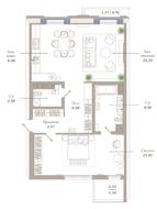 ЖК «Приоритет», планировка 2-комнатной квартиры, 91.21 м²