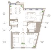 ЖК «Приоритет», планировка 3-комнатной квартиры, 116.83 м²