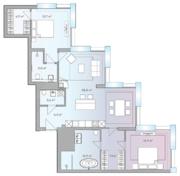 МФК «Lumin», планировка студии, 107.00 м²