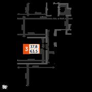 ЖК «Sydney City», планировка 3-комнатной квартиры, 63.50 м²