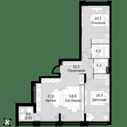 ЖК «Sydney City», планировка 3-комнатной квартиры, 91.90 м²