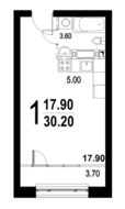 ЖК «Серебро», планировка студии, 30.20 м²