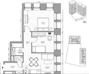 МФК «B'aires», планировка 3-комнатной квартиры, 49.53 м²