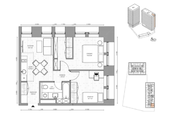 МФК «B'aires», планировка 3-комнатной квартиры, 46.93 м²