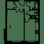 МФК «Mitte», планировка студии, 36.10 м²