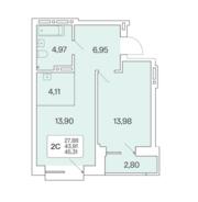 ЖК «Расцветай на Красном», планировка 2-комнатной квартиры, 45.00 м²