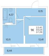 ЖК «Расцветай на Гоголя», планировка 1-комнатной квартиры, 37.20 м²
