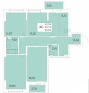 ЖК «Расцветай на Гоголя», планировка 4-комнатной квартиры, 93.02 м²