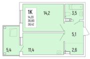 ЖК «Акация на Ватутина», планировка 1-комнатной квартиры, 38.40 м²