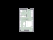 МФК «La Rue», планировка студии, 27.04 м²