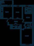 ЖК «Оазис», планировка 3-комнатной квартиры, 80.07 м²