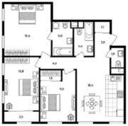 МФК «Titul на Серебрянической», планировка 3-комнатной квартиры, 87.00 м²