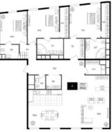 МФК «Titul на Серебрянической», планировка 4-комнатной квартиры, 296.00 м²