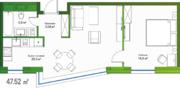 МФК «LES», планировка 1-комнатной квартиры, 47.52 м²