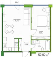 МФК «LES», планировка 1-комнатной квартиры, 52.92 м²