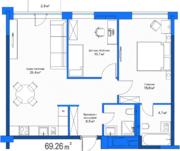 МФК «LES», планировка 2-комнатной квартиры, 69.20 м²