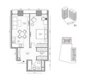 МФК «B'aires», планировка 2-комнатной квартиры, 48.02 м²