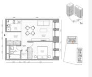 МФК «B'aires», планировка 2-комнатной квартиры, 42.45 м²