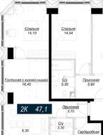 ЖК «Hide», планировка 2-комнатной квартиры, 47.10 м²