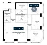 ЖК «Hide», планировка 4-комнатной квартиры, 101.40 м²