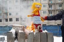 С блинами протеста и сжиганием своего горя встретили Масленицу обманутые дольщики «Десяткино 2.0»