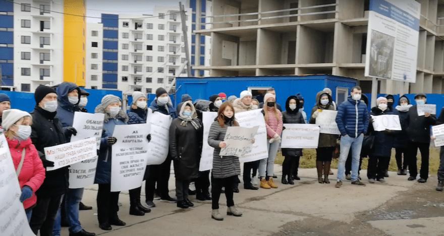 Дольщики ЖК «Финские кварталы» присоединились к протестам обманутых застройщиками покупателей в Ленобласти